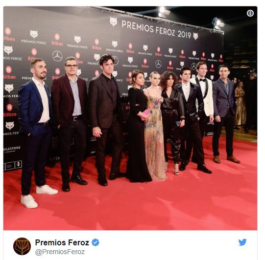Los actores de ÉLITE en los Premios FEROZ 2019 Álvaro Rico Ester Expósito Danna Paola Minna El Hammani