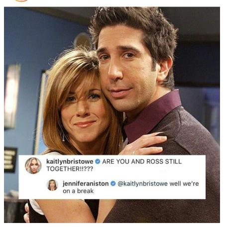 ¿Rachel y Ross de Friends siguen juntos? Jennifer Aniston responde en Instagram